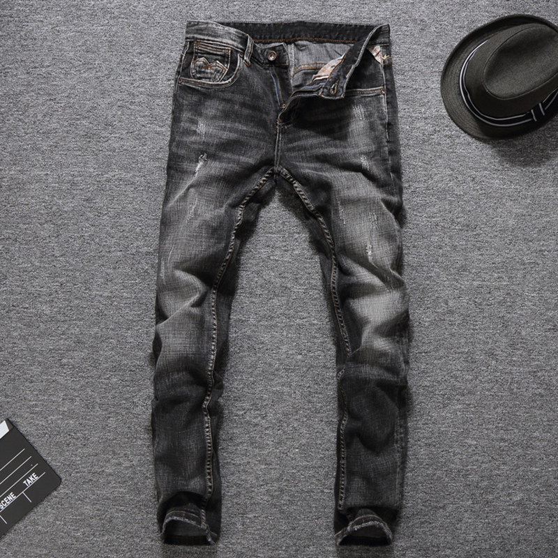 Preppy Style Brand Clothing Men`s Grey Color Jeans Masculino Denim Pants Distressed Mid Stripe Slim Fit Ripped Jeans Men RL634