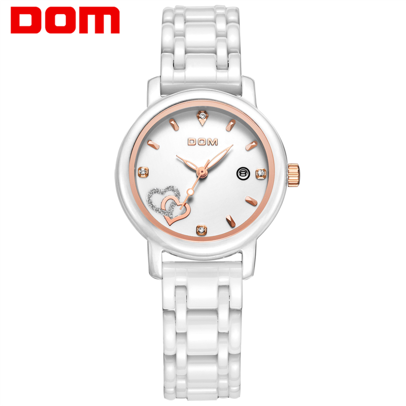 DOM women watches luxury brand waterproof quartz woman wristwatch white ceramic nurse watch reloj hombre marca de lujo clock weiqin new 100% ceramic watches women clock dress wristwatch lady quartz watch waterproof diamond gold watches luxury brand