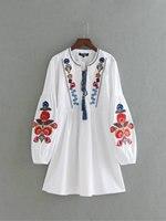 Women Bohemian Folk Embroidered White Dress With Lantern Sleeve