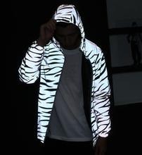 zebra fluorescent clothing Unisex  jacket casual hiphop windbreaker 3m reflective jacket  tide Unisex coat hooded джинсы мужские tide with community c033 1 coogi hiphop
