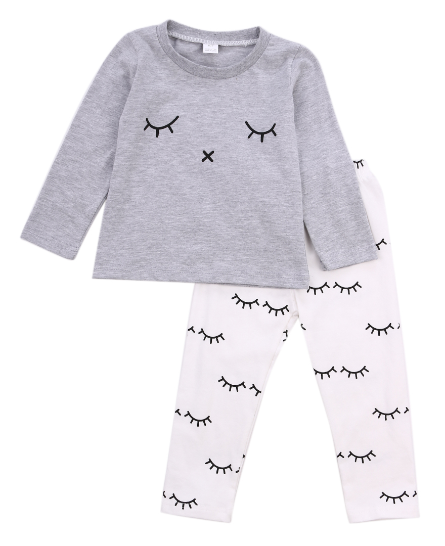 bbf50f9026be cute Newborn Baby Boys Girls outfit eyelash print Long Sleeve gray T shirt  long legging Pants autumn Outfit clothes Set for baby