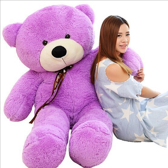2018 New arrival 160CM giant purple teddy bear plush doll stuffed animals kid baby dolls ...