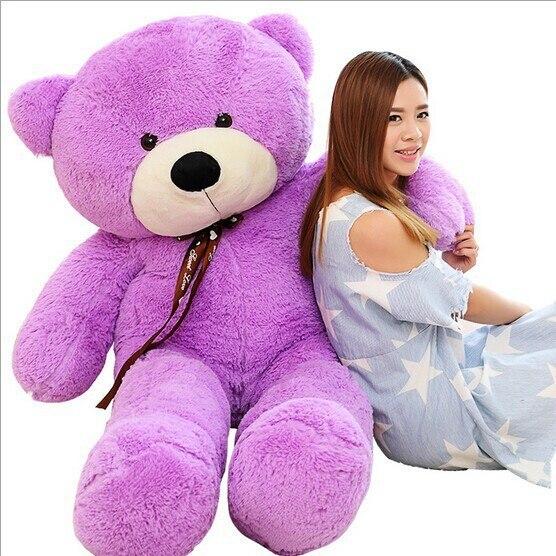 2018 New arrival 160CM giant purple teddy bear plush doll stuffed animals kid baby dolls ...