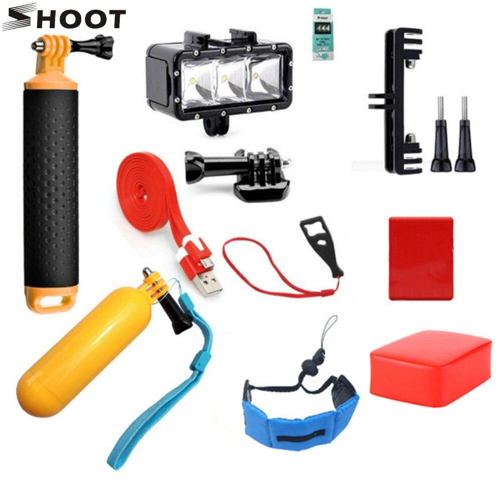 SHOOT natation accessoires Set pour GoPro Hero 7 6 5 4 SJCAM Xiaomi Yi 4 K H9 sport Cam flotteur main sangle plongée étanche lumière