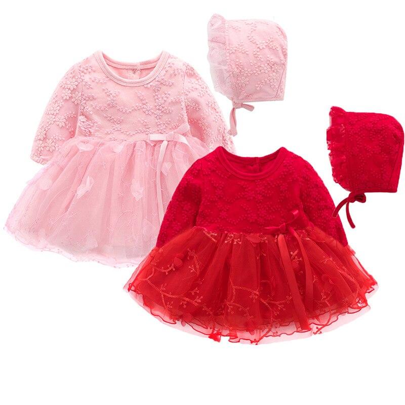 f56dfad43 Recién Nacido flores bordado Puff manga niñas vestido bautizo fiesta de  cumpleaños bebé ropa niña ropa