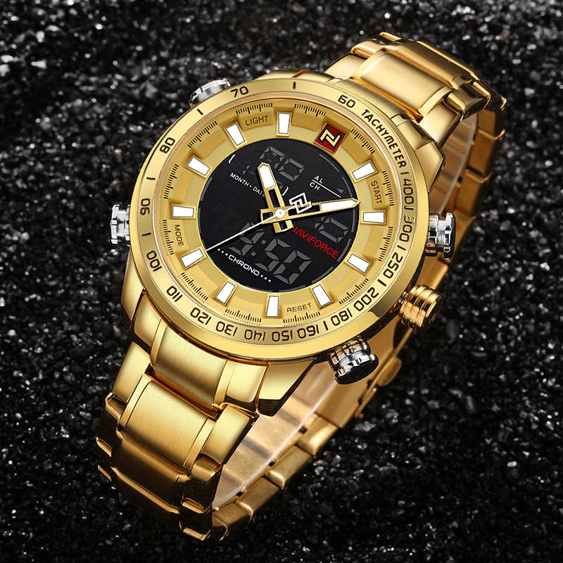 661fc656887 Detail Feedback Questions about Men s NAVIFORCE Luxury Brand Sport Watches  Men Dual Display LED Digital Waterproof Full Steel Quartz Watch Man  Clock+origin ...