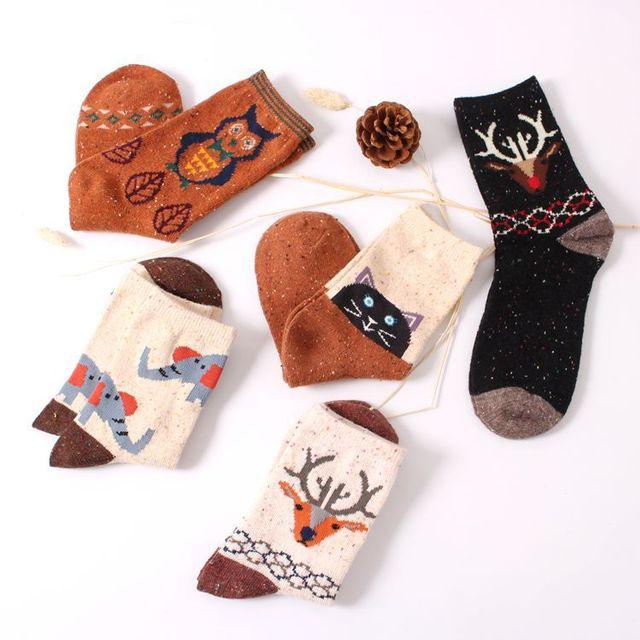 Старинные толстый кролик шерсти женщин носки экипажа ретро осень зима Harajuku животных сова олень кот слон бренда прекрасные милые хлопок