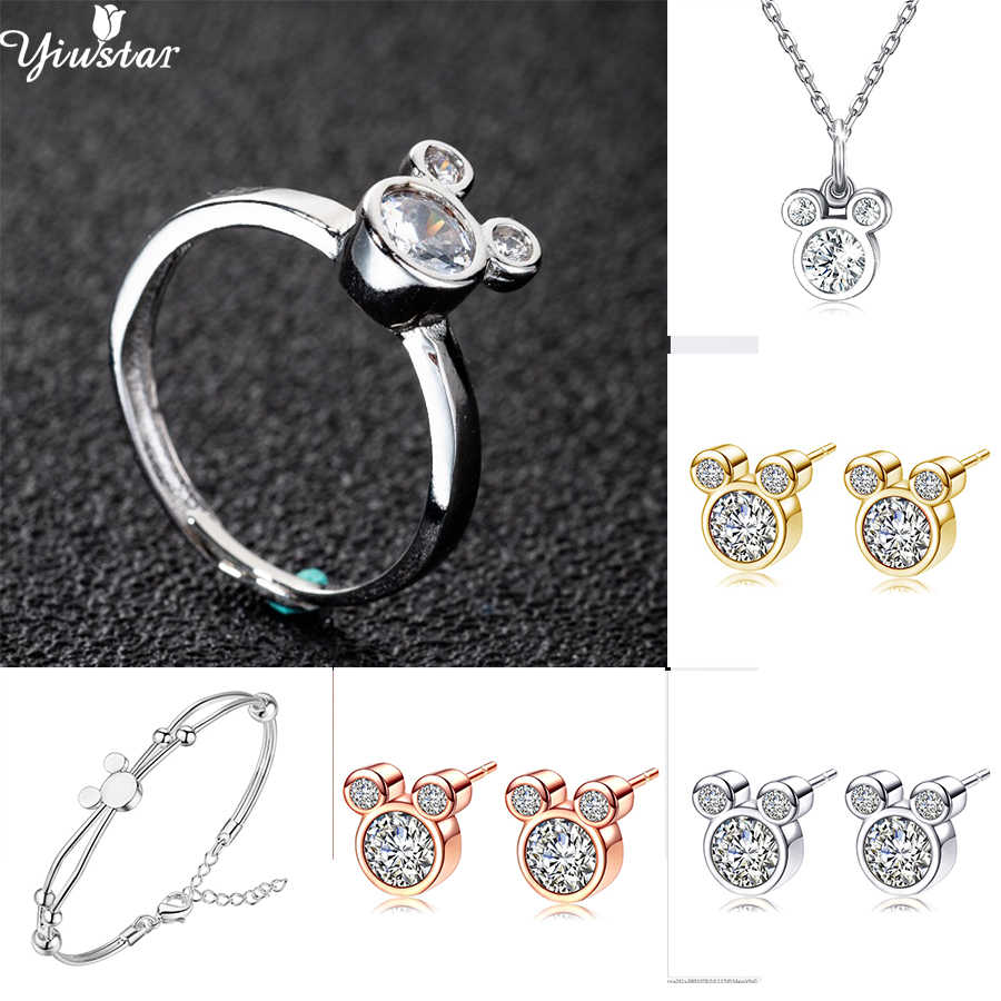 Yiustar 2019 Mickey Jewelry Mickey Rings for Women CZ Cubic Birthday Mouse Finger Ring Party Christmas Bague Adjustable Rings