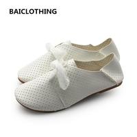 BAICLOTHING mujeres lindo suave y cómodo zapatos blancos zapatos planos de la señora ocasional de la calle con estilo retro de LA PU de cuero zapatos planos