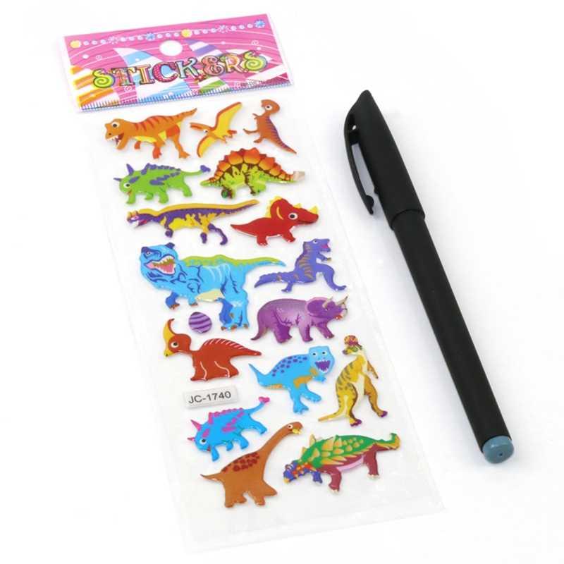 Inchado Adesivos Mundo Jurássico Dinossauro Animal Espuma Etiqueta Do Dinossauro Adesivos Criança Sólida Bolha Crianças Brinquedo Clássico Brinquedos Adesivo