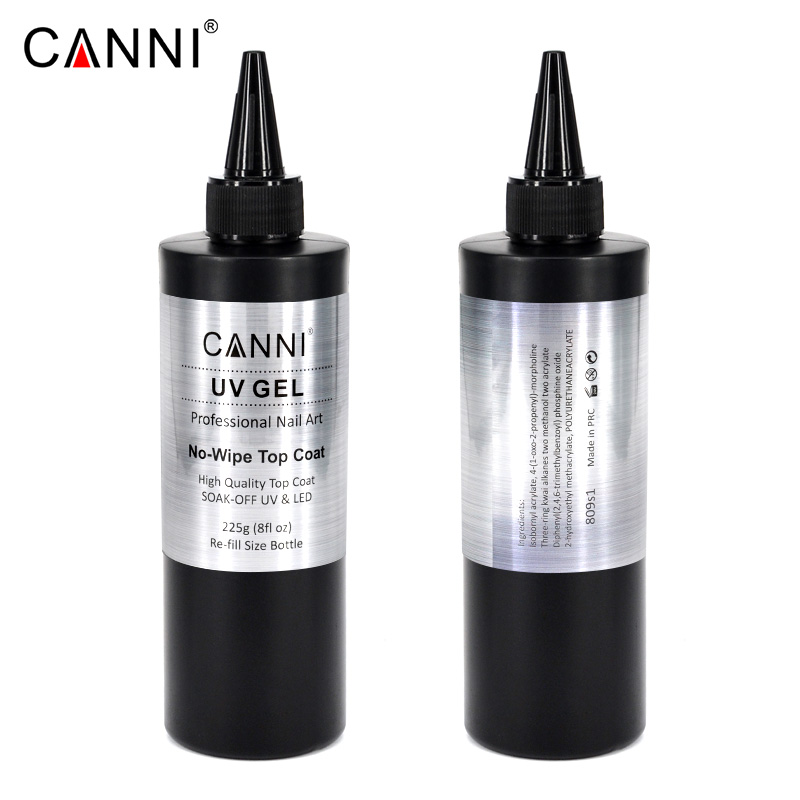 CANNI no wipe topcoat soak off gel 225g bulk Raw Material led uv long lasting high glossy no clean nail gel polish base gel