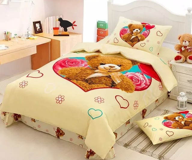 teddy bear bedding set duvet cover bed in a bag sheet. Black Bedroom Furniture Sets. Home Design Ideas