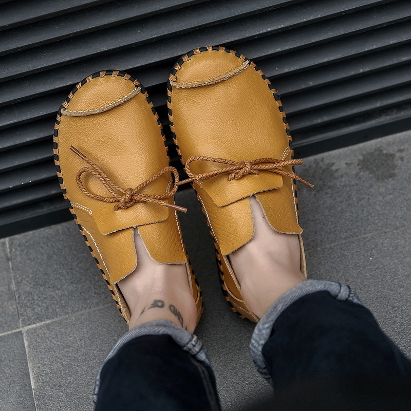 2018 Designer Shoes Male Handmade Leather Shoes Flats Men Lace Up Lofers Moccasins Men Casual Shoes Adult Men Footwear 36 47-in Men's Casual Shoes from Shoes    1