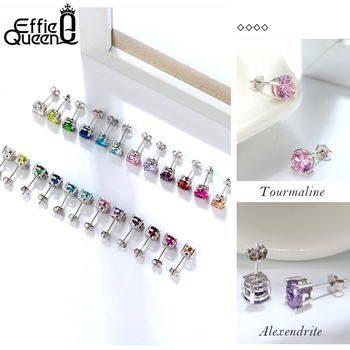 925 Sterling Silver Birthstone Stud Earrings 1