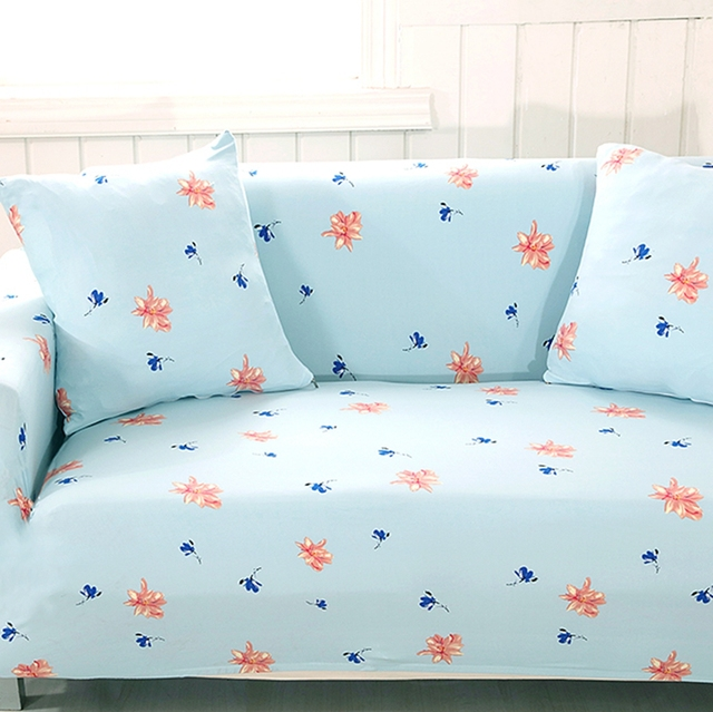 Universal Stretch Sofa Covers For Living Room 100 Polyester Corner Slipcovers Home Light Blue Flowers In Cover From