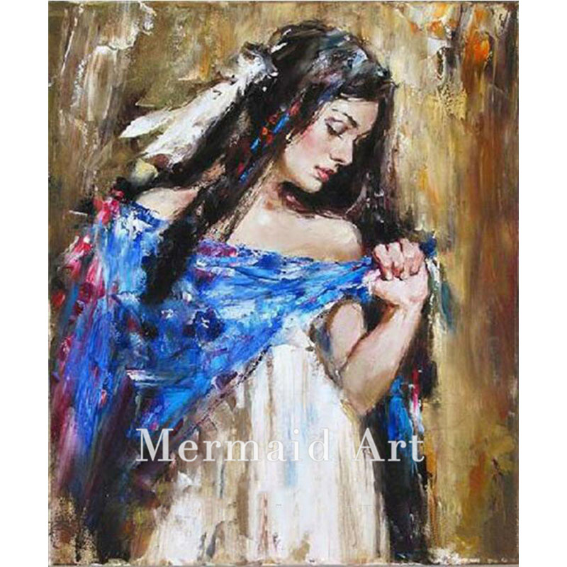 Hand Made Canvas Art Lady dressing Blue And White Skirt Ballet Art Tango Dancing People Oil Painting With Frame