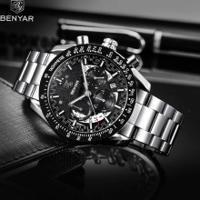 BENYAR 2019 New Mens Watches Luxury Quartz Wrist Watch Men Sport Military Waterproof Chronograph Reloj Hombre