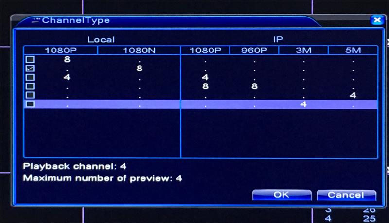 1080n 25fps 5 in  1 8ch 8 channel hybrid ahd tvi cvi nvr cctv dvr  channel type picture