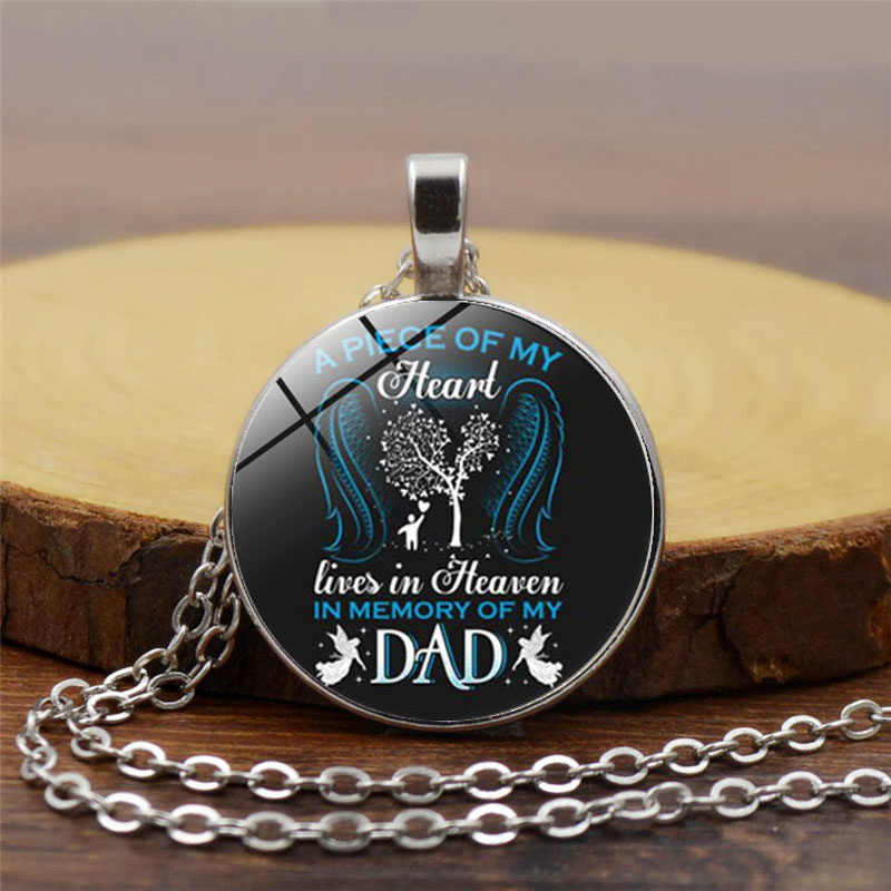 Necklace A Piece of My Heart Lives In Heaven In Memory of My Dad Photo Tibet Silver Cabochon Glass Pendant Chain Necklace