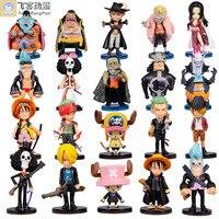 Anime Animation One Piece Luffy Zoro Sanji Chopper Brook Franky PVC Figures Collection Model Q Version