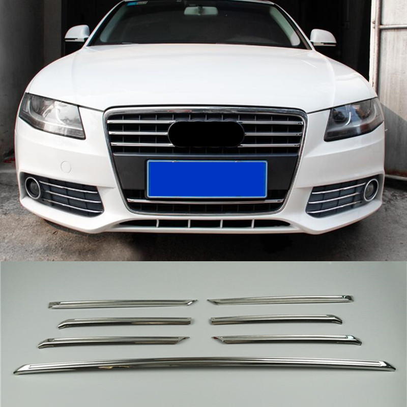 Stainless steel Front Grill Grille Decorative Cover Trim Strips For Audi A4 2009-12 Car Styling Decals  grille