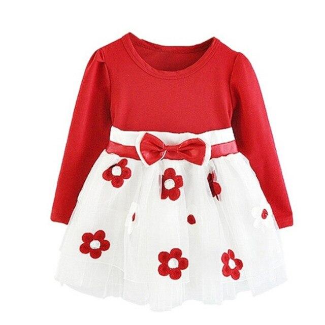 4291c5b2bbeb O Vestido Da Menina bebê Manga Longa Outono Inverno Vestido 1 Ano da Festa  de Aniversário