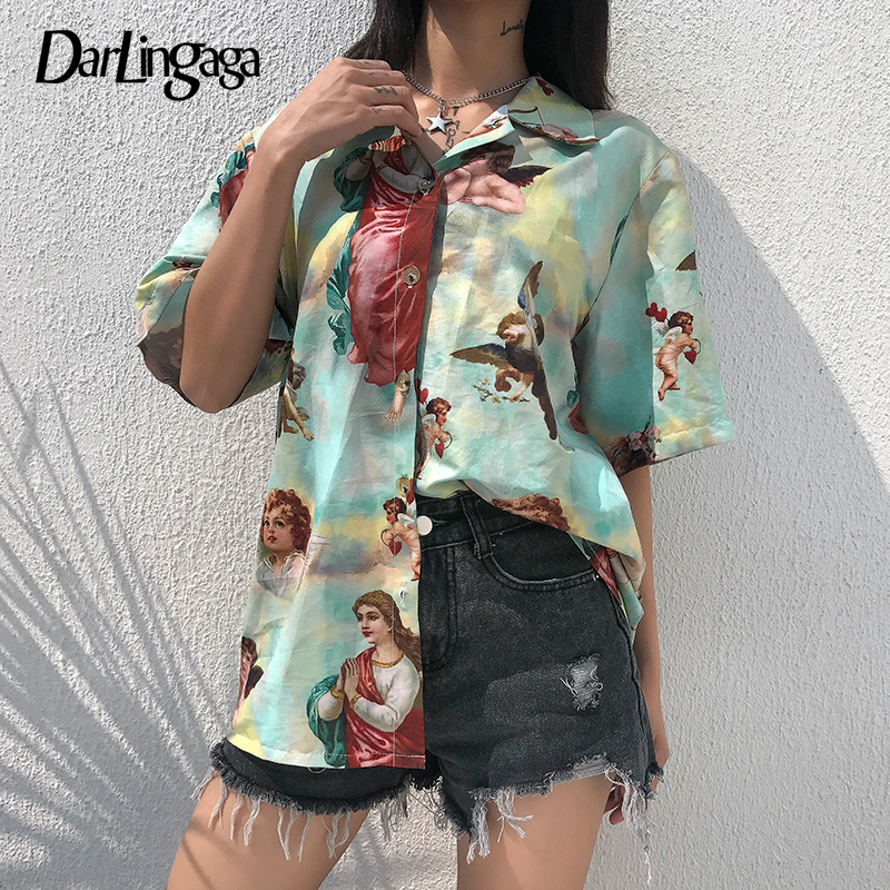 Darlingaga Vintage Aesthetic Cupid Angel Print Women'   Blouse     Shirt   Cardigan Short Sleeve Summer Top Graphic   Blouse   Women Clothes