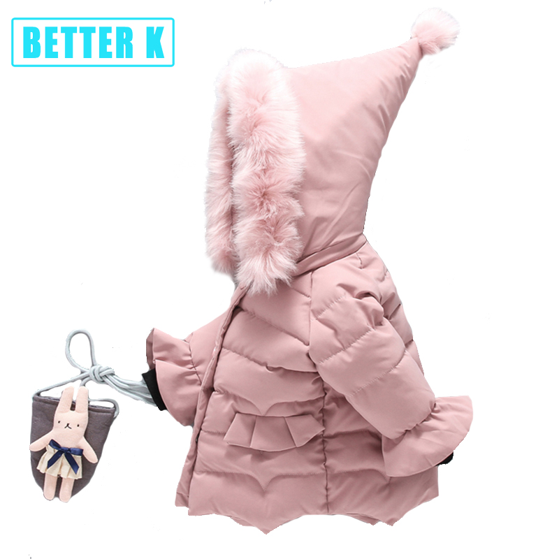 Обувь для девочек Пальто и пуховики Зимняя куртка для девочек, пальто Мех парки с капюшоном Одежда для детей от 0 до 5 лет Детская верхняя оде...