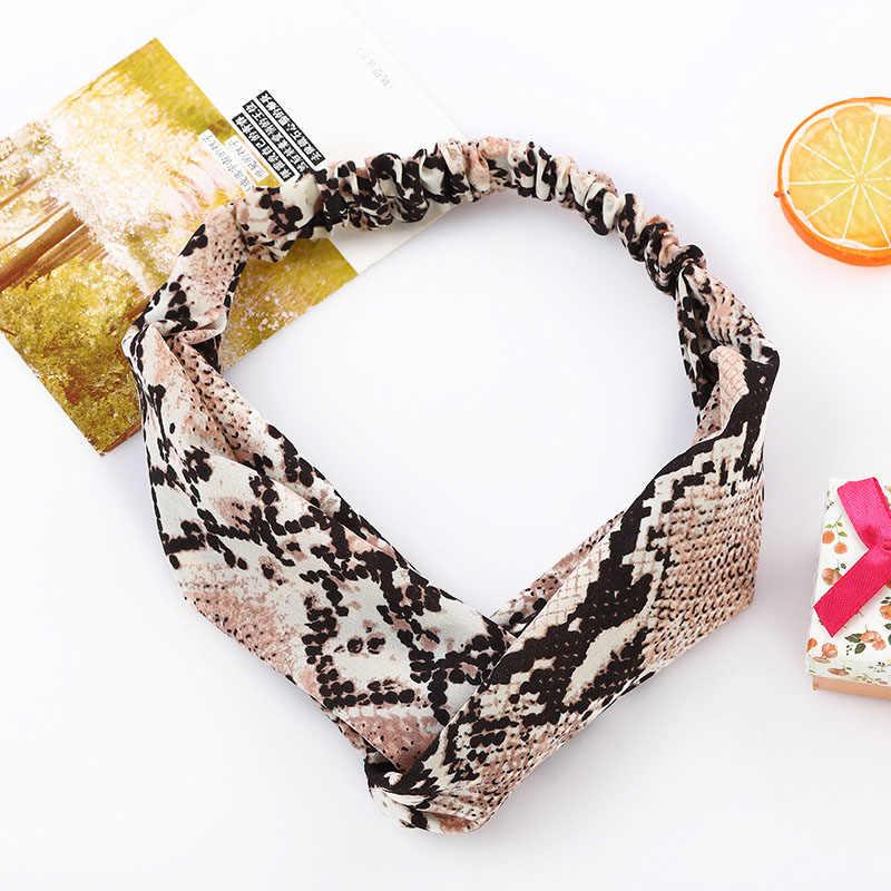 Женские повязки на голову со змеиным принтом, Женская повязка для головы леди Крест Дикие аксессуары для волос головной убор повязка