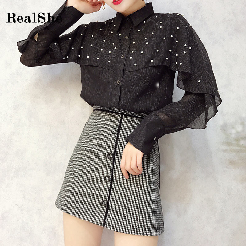 RealShe Women Shirt Fashion Woman Elegant Pearls Beading Long Sleeve Cloak Chiffon Shirt Spring 2018 Korea