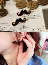 Retro cute sexy dripping oil black moustache earrings(China)