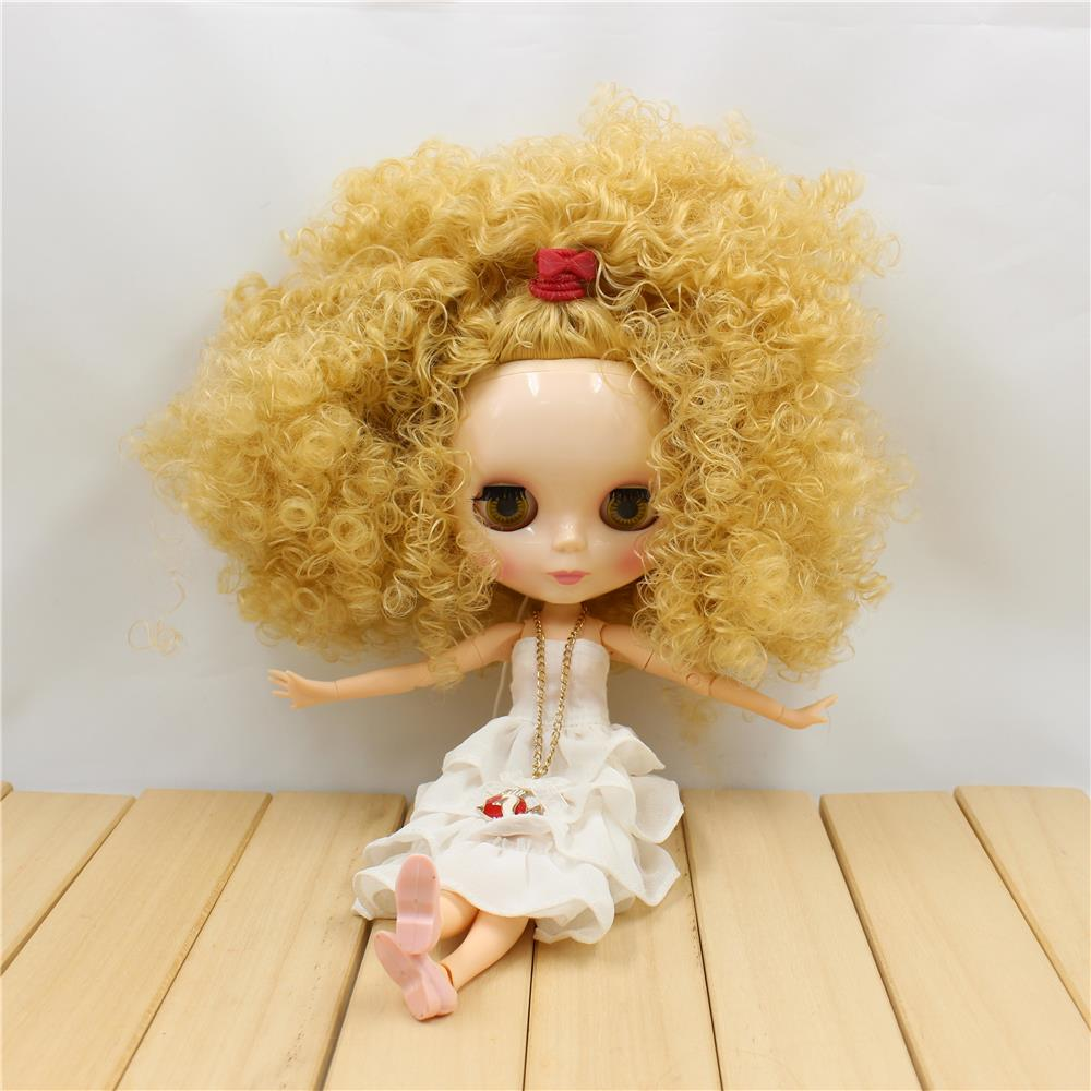 Blyth Doll Nude Joint bdoy Golden Wild Curl Hair 4 Colors Big Eyes Suitable DIY 1/6 bjd blyth dolls for sale free shipping bjd joint rbl 354j diy nude blyth doll birthday gift for girl 4 colour big eyes dolls with beautiful hair cute toy