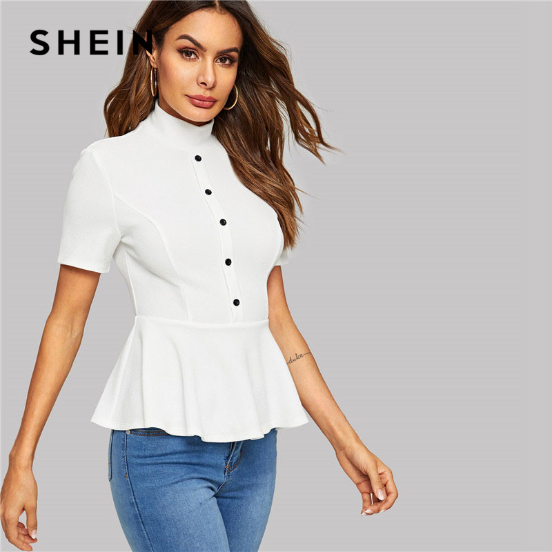 c50a10d4 SHEIN Lady Elegant Button Front Mock-Neck Peplum White Tshirt Top Women  Summer Casual Stand