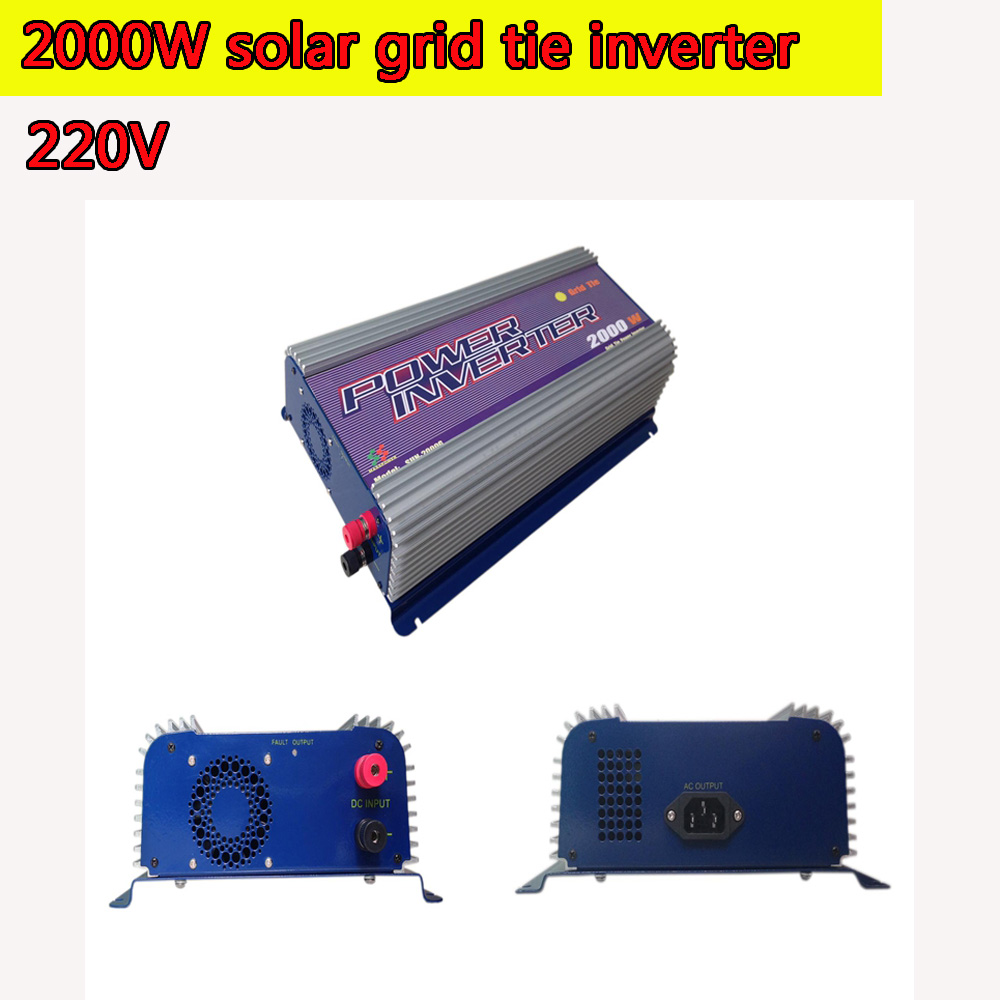 2000W Grid Tie Power Inverter 220V Pure Sine Wave DC to AC Solar Power Inverter MPPT Function 45V to 90V Input High Quality 1500w grid tie power inverter 110v pure sine wave dc to ac solar power inverter mppt function 45v to 90v input high quality
