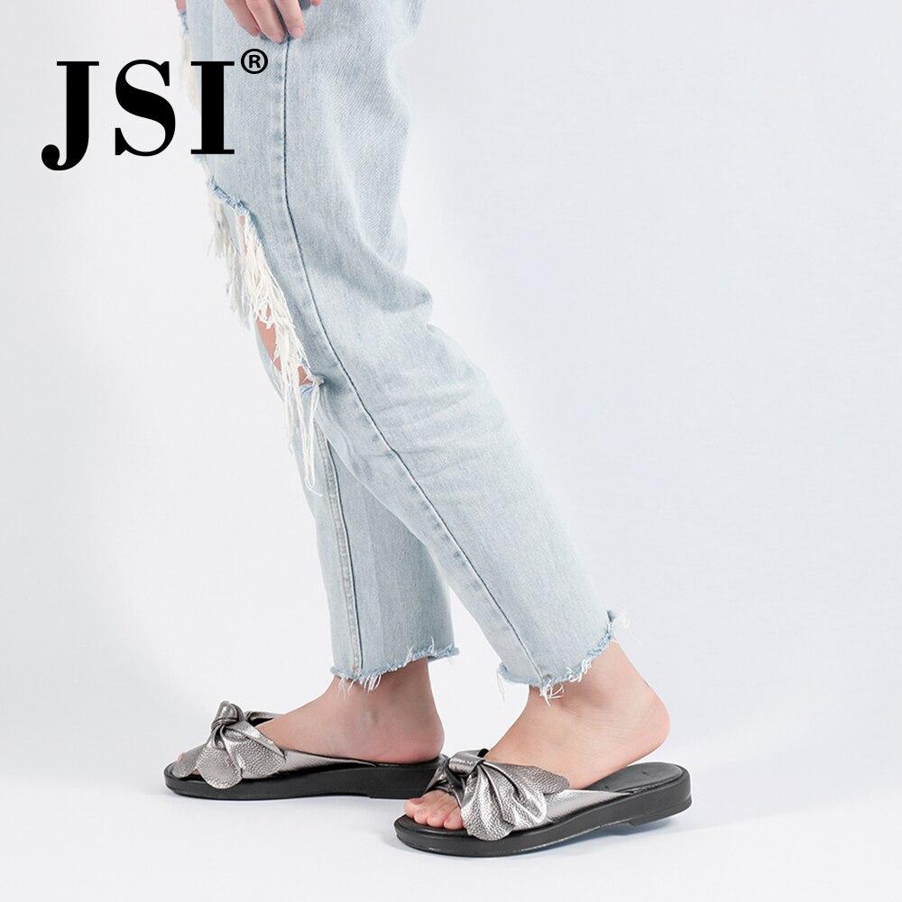 JSI été nouvelles femmes pantoufles à la main en cuir véritable mode papillon-nœud décontracté dame chaussures décoration florale pantoufles JS34