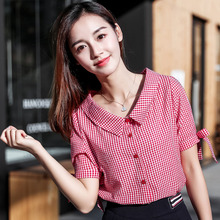 hot deal buy women spring summer style chiffon blouses shirts lady casual short lantern sleeve peter pan collar blusas tops df1718