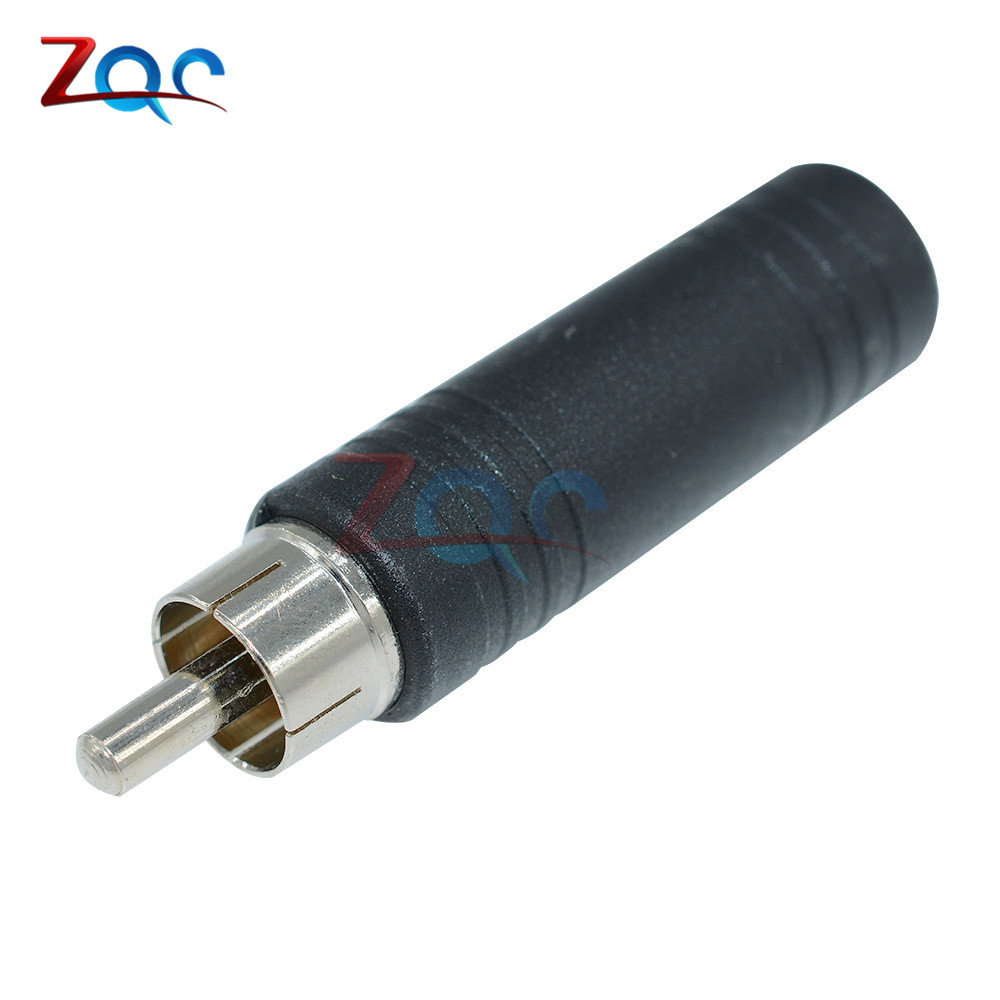 2PCS HOT RCA Male Plug to 1/4 6.35mm Female Jack Audio Adapter Connector CF 1 to 2 rca male to female av adapter connector red golden 2 pcs