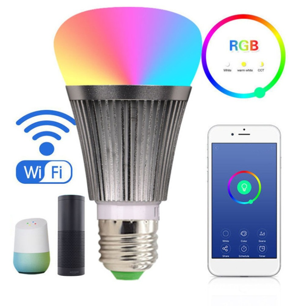 7W LED Light Bulb E27 RGB Bulbs Smart Wifi Bulbs with APP Remote Control Dimmer Color Changing Works With Alexa for Android iOS smart bulb e27 led rgb light wireless music led lamp bluetooth color changing bulb app control android ios smartphone