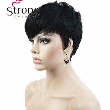 StrongBeauty Short Wig Side Bang Asymetrical Full Synthetic Wigs Black and Red COLOUR CHOICES