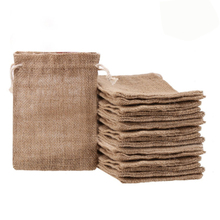 Burlap Bags with Drawstring Jute Jewelry Pouches Packing Storage Mini Sacks Gift Bag for Wedding Christmas Party Birthday Shower