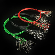 WALK FISH 10PCS/Lot 50CM Fishing Line Steel Wire Leader With Swivel Fishing Accessory 3 Colors Olta Leadcore Leash