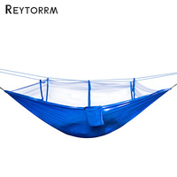 Portable Outdoor Camping Netted Hammock Survival Anti Mosquito Hanging Travel Garden Sleeping Bed 1 2 Person With 2 Straps
