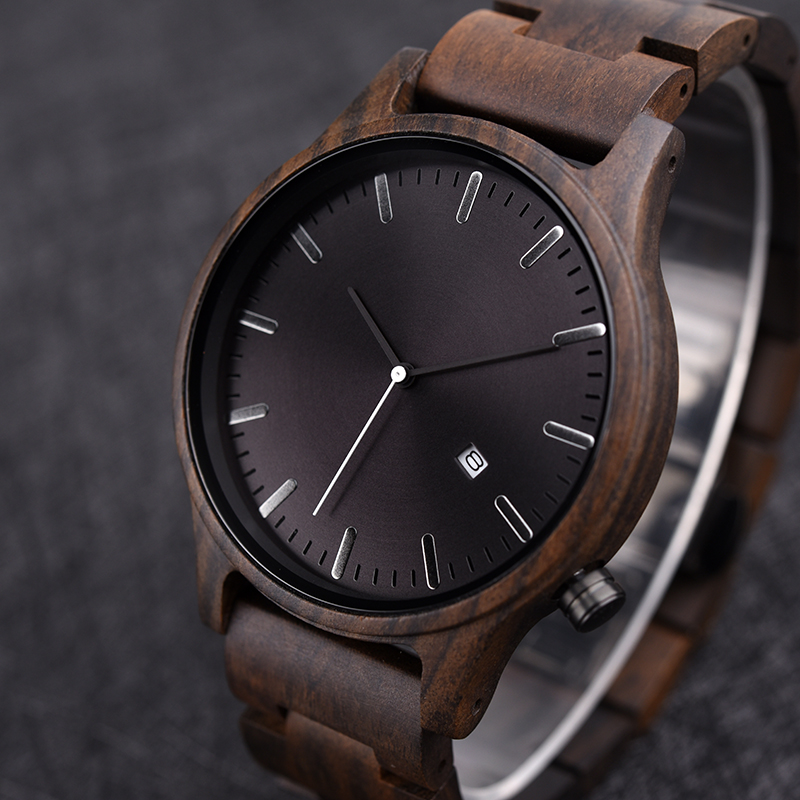 Watches Wood Dodo Deer Adjustable Retro Unique Clock Quartz Male Band B09 Ebony Masculino