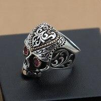 Оптовая продажа ювелирные изделия и серебро S925 серебряные мужские красный череп широкий панк кольцо
