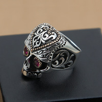 Wholesale fashion jewelry and silver S925 silver Mens Red Skull wide punk ring