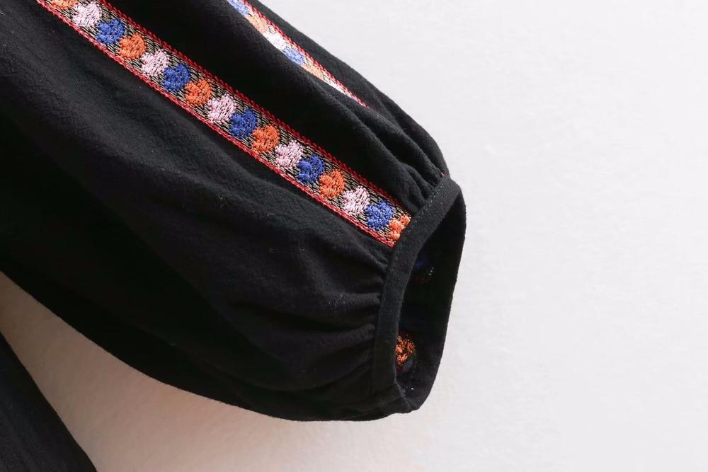 2018 frauen Vintage ethnische stickerei patch schwarz beiläufige lose jacke weibliche chic quaste gebunden strickjacke marke outwear Mantel CT085