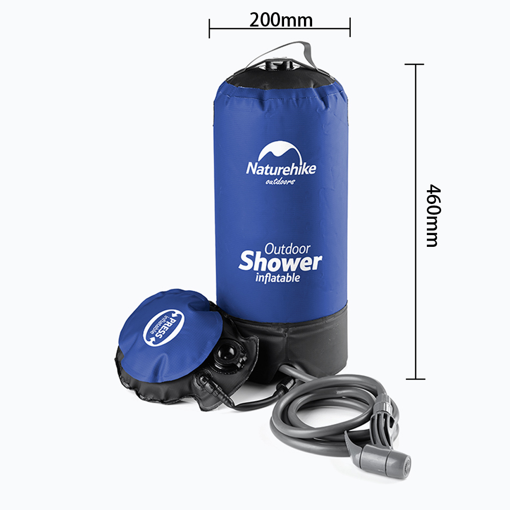 Naturehike 11L Pvc Outdoor Inflatable Shower Pressure Shower Water Bag Portable Camp Shower Lightweight