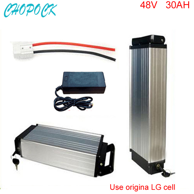 Ebike lithium battery 48v 30AH electric bike rear rack battery 48v 1000W bike lithium battery power with Use LG 18650 cell rear rack 20ah 48v akku 48v 1000w lithium ion battery for ebike battery pack with power lights and tail lights for samsung cell