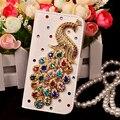 Luxo Rhinestone Diamante peacock Coque capa carcasa Caso capa de Couro Da Aleta para samsung galaxy s3 s4 s5 s6 s6 edge g9200 fundas