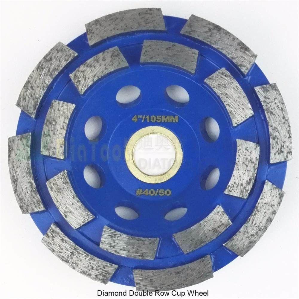 """DIATOOL 4""""/100mm Diamond Double Row Grinding Cup Wheel For Granite And Hard Material  Bore 22.23mm With 16mm Washer